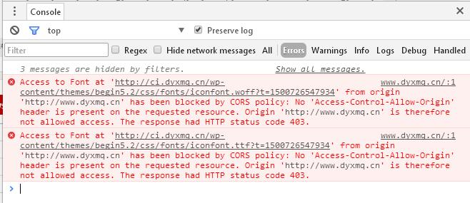 Wordpress设置CDN后字体无法正确加载的解决办法